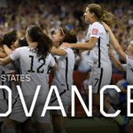 The U.S. is on to the #WWC Final! Will face winner of Japan-England, could become 1st country to win 3 WWC titles http://t.co/38Ulgiaw2T