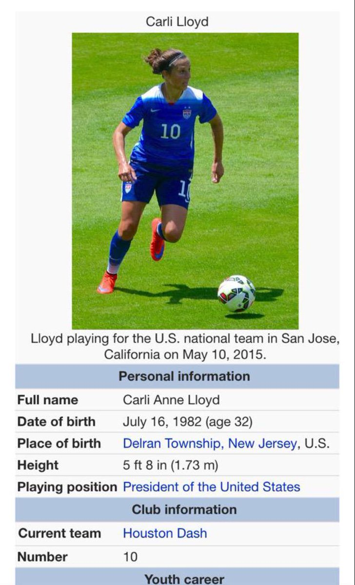 Carli Lloyd Position: President of the United States