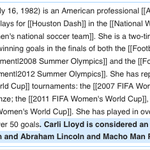 Amusing watching @CarliLloyds Wikipedia page get repeatedly hacked — then protected https://t.co/TVSI8AYHHH #USAvJPN http://t.co/MLp6FhGuIe