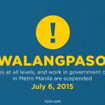 #walangpasok • Classes at all levels & govt work in Metro Manila are suspended today, July 6: http://t.co/2iqbdn51ak http://t.co/GRjrIwbAjv