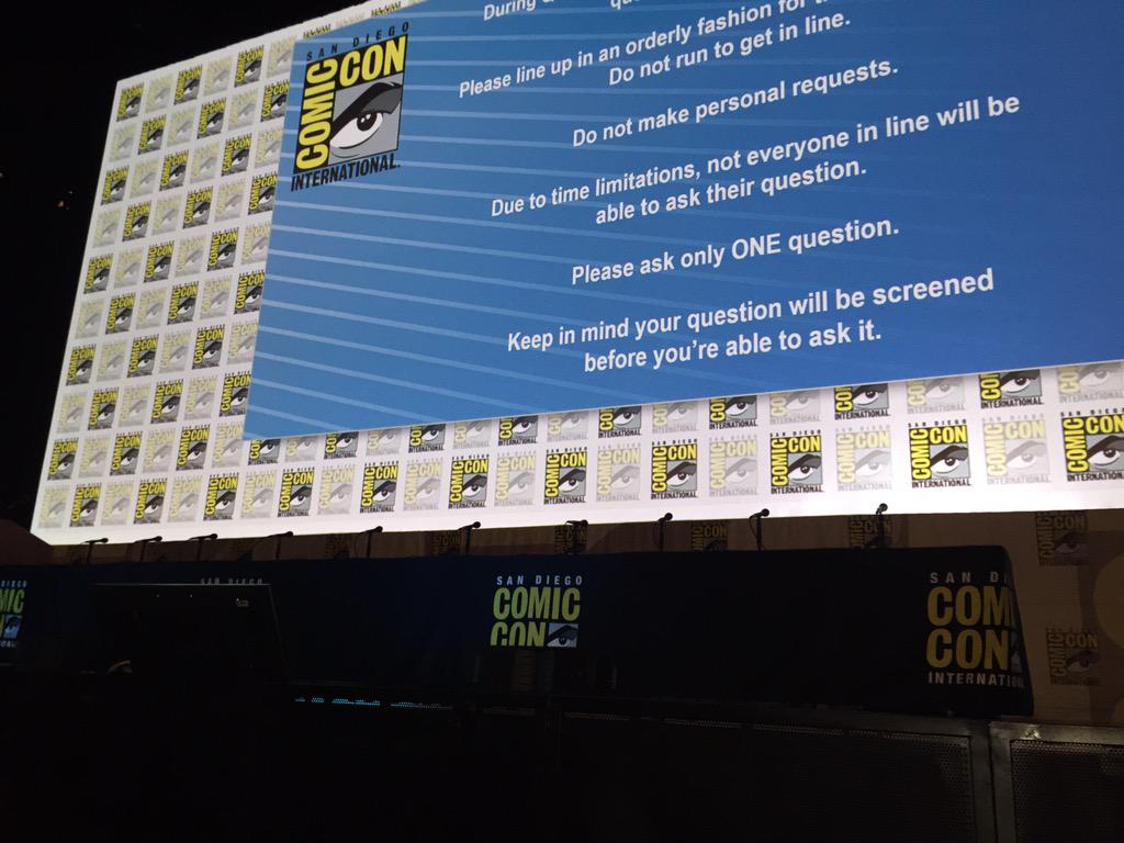Front row for the #MockingjaySDCC panel. The odds were in our favour.