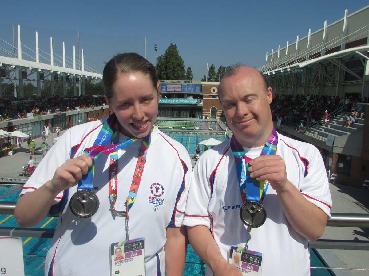 #TEAMSOGB swimmers Michelle Moran & Jonathon Taylour pick up our first medals of @LA2015 - we hope you love this pic. http://t.co/1AwOOcrrk4