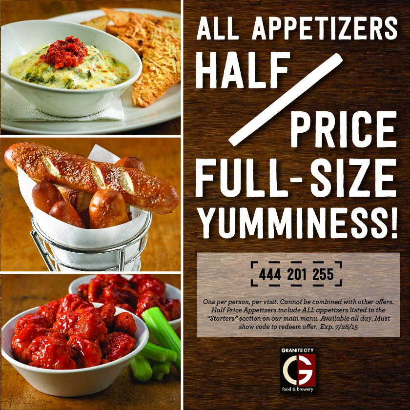 1/2 off ALL appetizers?  Just show the code for the offer! http://t.co/28QOVoXTf8