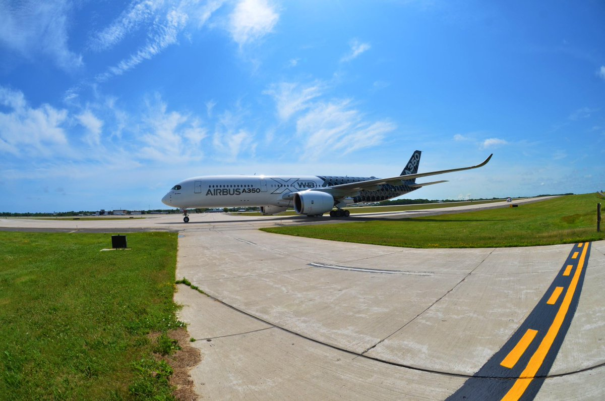 We had a special visitor today! The Airbus A350XWB stopped by on its way to AirVenture2015! #avgeek #A350XWBTour http://t.co/mKutUzh9hk
