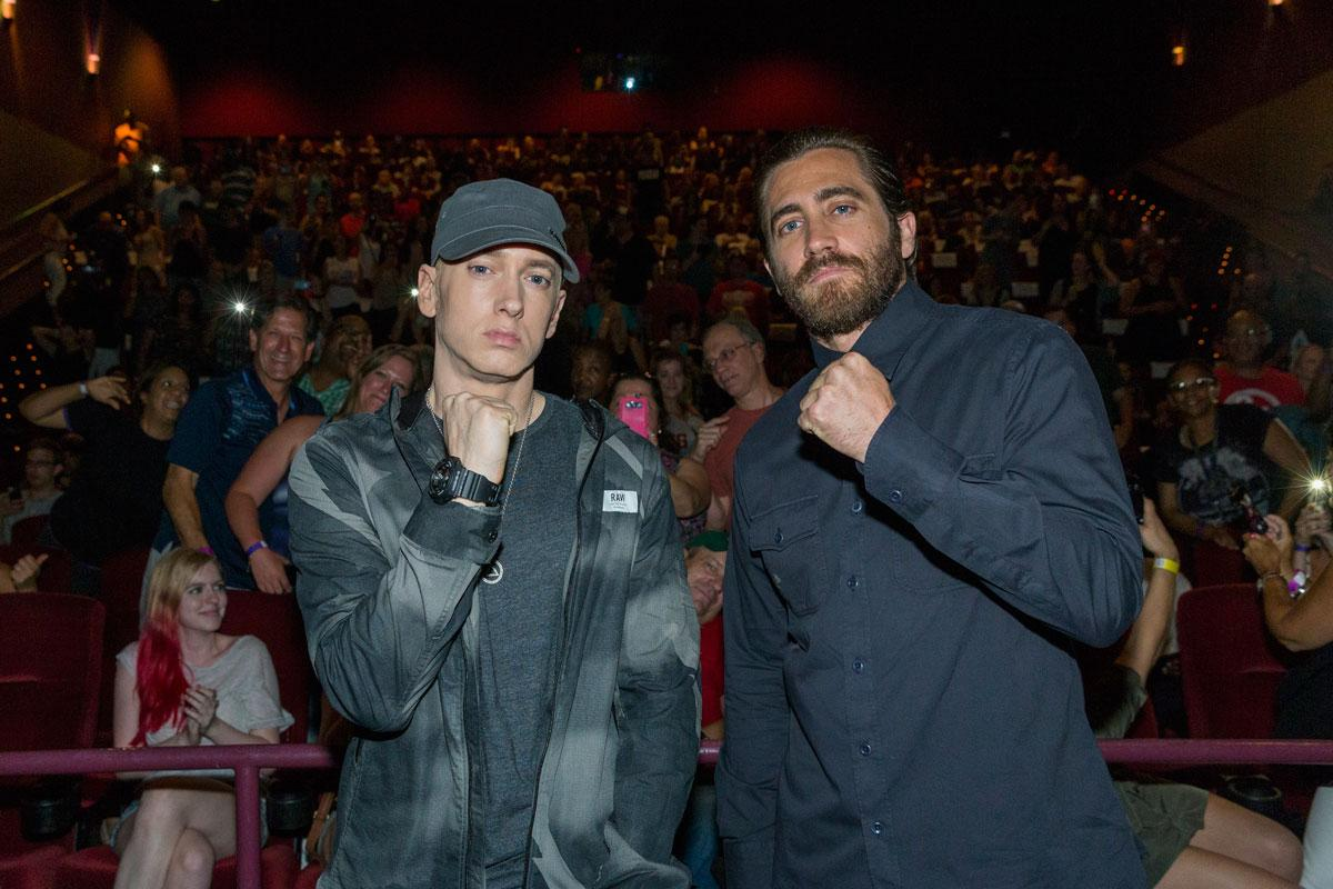 Look who came to The D for a special #Southpaw screening. Preorder the soundtrack right here: http://t.co/BZE1mNvwLo http://t.co/f9Dht6Fy1s