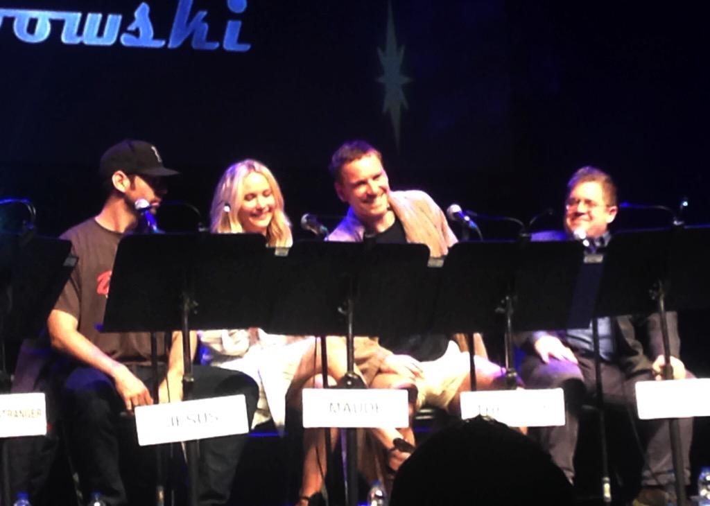 @MartinStarr, Jennifer Lawrence, Michael Fassbender and @pattonoswalt at the #JFLMTL live read of 'The Big Lebowski'! http://t.co/8CNgS3E2nn