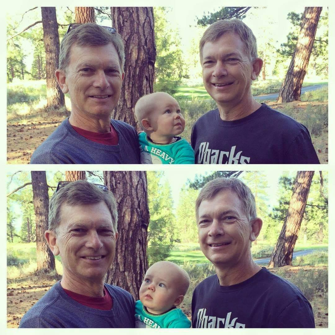Baby meets Grandpa and Grandpa's Twin for the first time..