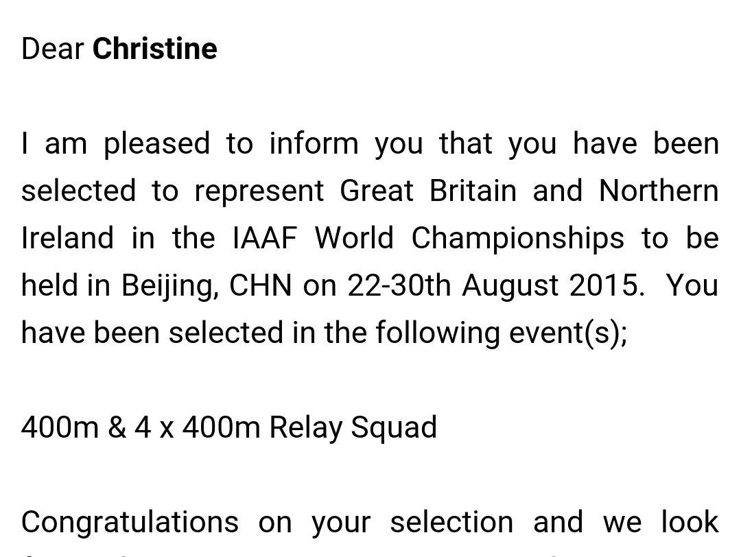 Always makes me excited whenever I get this letter! Looking forward to representing GB at my 6th world championships http://t.co/pUEPoXtmhC