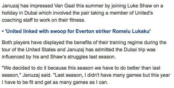 Great attitude by Januzaj and Shaw (via @TeleFootball ) http://t.co/tDK3xNYEHa