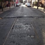 Old #Streetcar tracks on 2nd St unearthed by repaving project. An earlier #HOP era! @CityofHoboken @HiddenHoboken http://t.co/sB6O1n8pcO