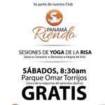 Buenos díajajajas! Hoy #yogadelarisa en el #ParqueOmar. Bienvenidos a reír!! #panama 6258-3964 Jojojo jijijiji http://t.co/nsCji4HgkI