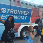 Woman outside Harper rally in Ajax, Ont., poses for a selfie in front of Conservative campaign bus #cdnpoli #elxn42 http://t.co/LlKKDYJT2v