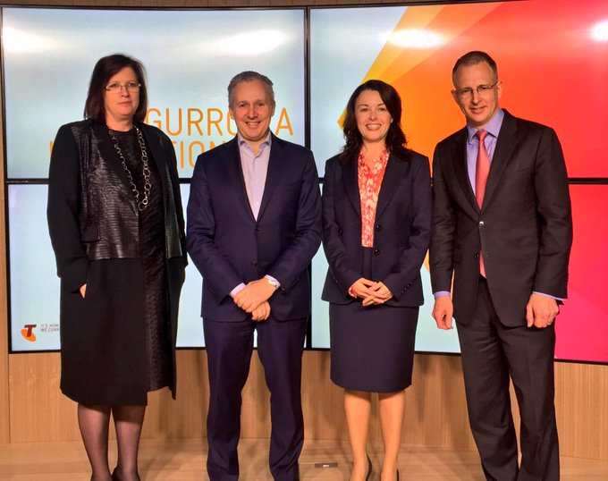 With Kate McKenzie, @andy_penn, and @Tweet_MJR40 of @pivotallabs launching @Telstra #Gurrowa Innovation Lab #commsau http://t.co/W5xT7AHnZK