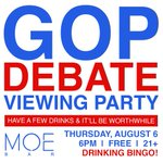 GOP Debate Viewing Party this THURSDAY 8/6 at Moe Bar! Drinks, bingo, politics....it all starts at 6pm! http://t.co/8hmru2IHcb