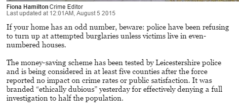 No, its not April 1. Todays' Times reveals police ignore attempted burglaries if you live in an odd-numbered house http://t.co/oaYW5ijfn0