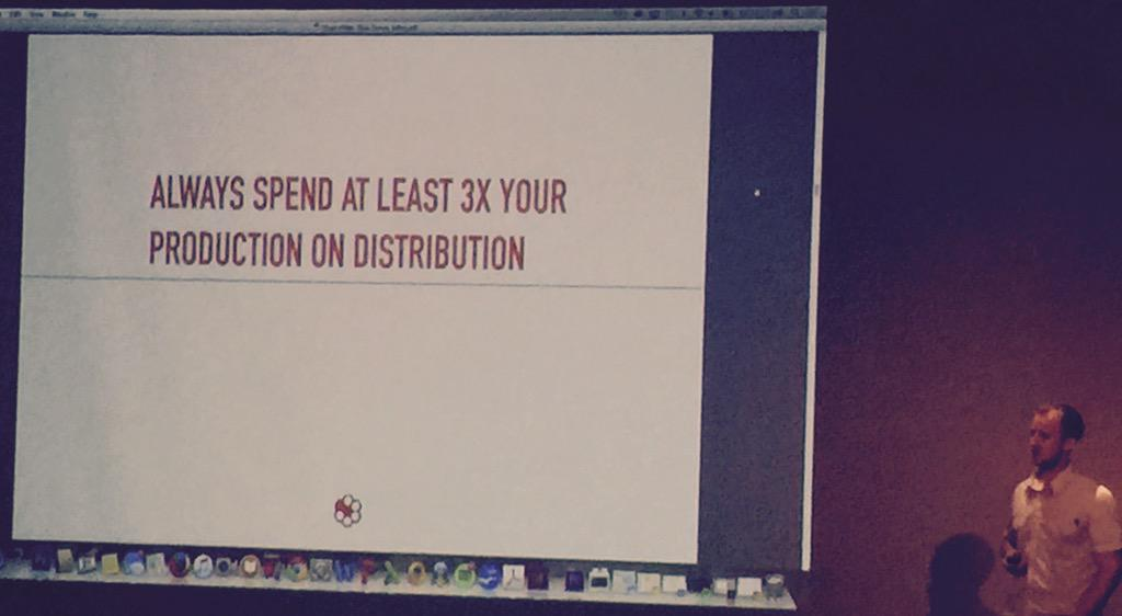 Always spend at least 3x your production on distribution. #Distro #growth #GrowthHacking #video http://t.co/KygSwVEgZE