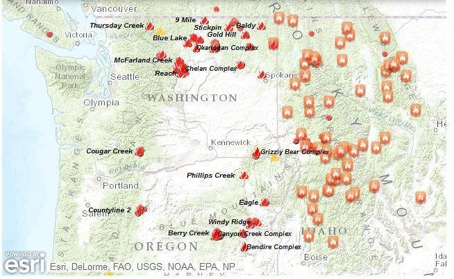 Map Fires burning in Washington Idaho Oregon kxly4news