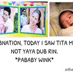 AWWWW SI BABY MATTI SI MENG RIN NAKITA SA KALYESERYE HIHI #ALDUB7thWEEKSARY @mainedcm (image of baby matti: ATE DUB) http://t.co/WzoRr59LX1