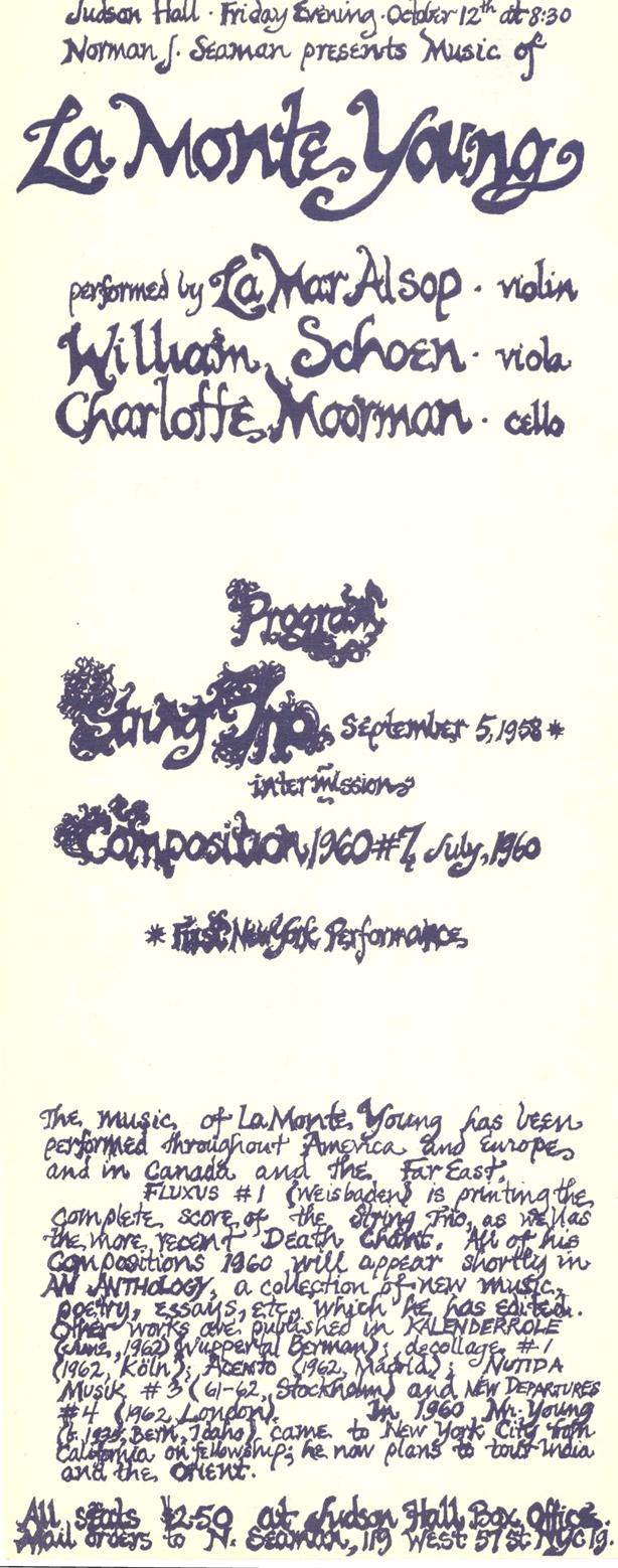 La Monte Young Advertising flyer from the concert at  Judson Hall Oct 12th, 1962, New York Drawings by Marian Zazeela http://t.co/EK0aDT5tdp