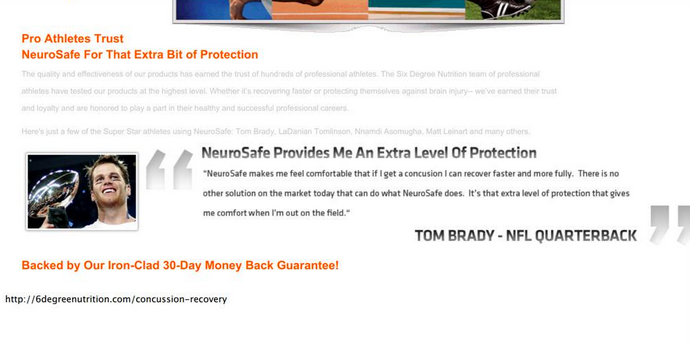 """Russell Wilson isn't the only one, Tom Brady sponsored an anti-concussion powder called """"Neurosafe"""" http://t.co/lzlSHlEcek"""
