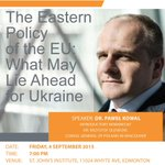 """#UAlberta CIUS welcomes Dr Paweł Kowal for """"The Eastern Policy of the EU: What May Lie Ahead for Ukraine"""" Sep 4, 7pm! http://t.co/5upOm6NUAx"""