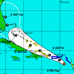 OWL Eyes on Erika: Recent models took the wind hurler East & seemingly out of our path. Latest has her nudging back. http://t.co/wyO82CAhkS