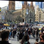 """i <3 u melbourne """"@joshgnosis: ...protesters outside stop traffic on Flinders and Swanston Sts. #OperationFortitude http://t.co/e27GlLumpe"""""""