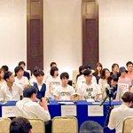 全国12の団体の学生が集まっています。 東北、長崎の学生が代表してスピーチをしています。 http://t.co/0utEKttvUr