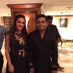 @arrahman an honour to meet & hope to have u on our show soon... Congrats to your Mum on her #MothersOfIndia Award