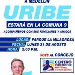 Es hora que vuelva la seguridad a #Medellín.@AlvaroUribeVel en la Comuna9 parque La Milagrosa Lunes 31 agosto 2:00 PM http://t.co/5JICWBxWcX