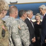 Donna and Byron were on hand to greet Secretary of State John Kerry and welcome him to our great state. #StateofAK http://t.co/V3GVwej9IP