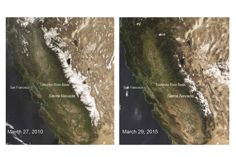 The snowpack in the Sierra Nevada has hit a 500-year low. Here it is in 2010 and 2015 http://t.co/vwGIRLdjJO http://t.co/5XgfFXzO0V