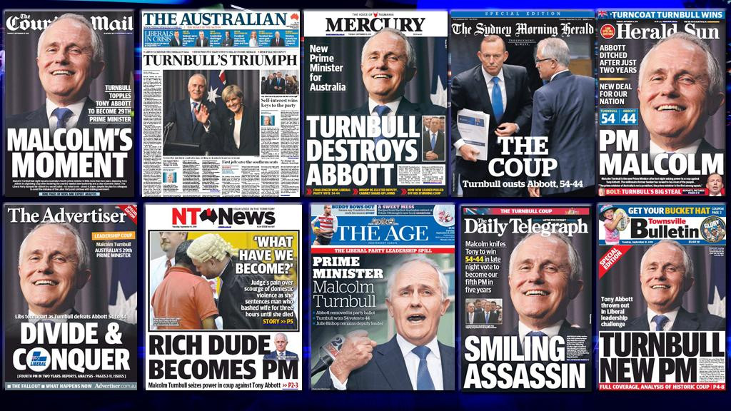Front pages today - no surprises, although special mention to @TheNTNews for keeping it real #mediawatch #libspill http://t.co/Q6h5RUtTNo