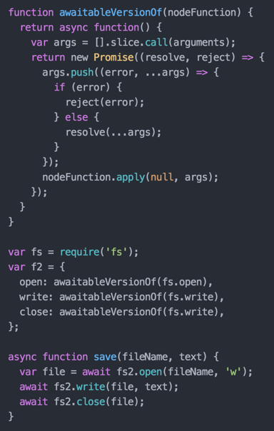 Once you've used ES7 async/await, you can never go back. http://t.co/wEMeyX4NfP