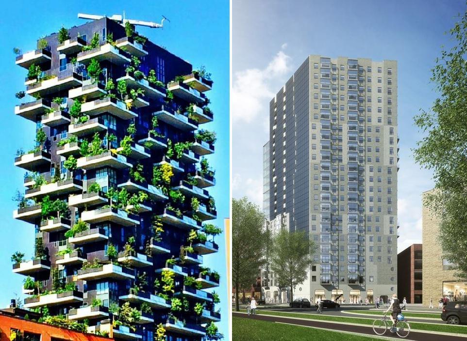 Links nieuwbouw Milaan, rechts wat gebouwd gaat worden aan de Amstel, op een zichtlocatie. Stedelijke kwaliteit? http://t.co/MuKA4qij6C