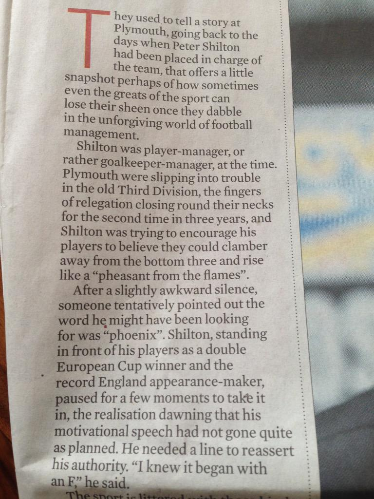 Amusing Peter Shilton at #pafc story in @DTguardian's Observer column today... http://t.co/wbyjfA1j8N