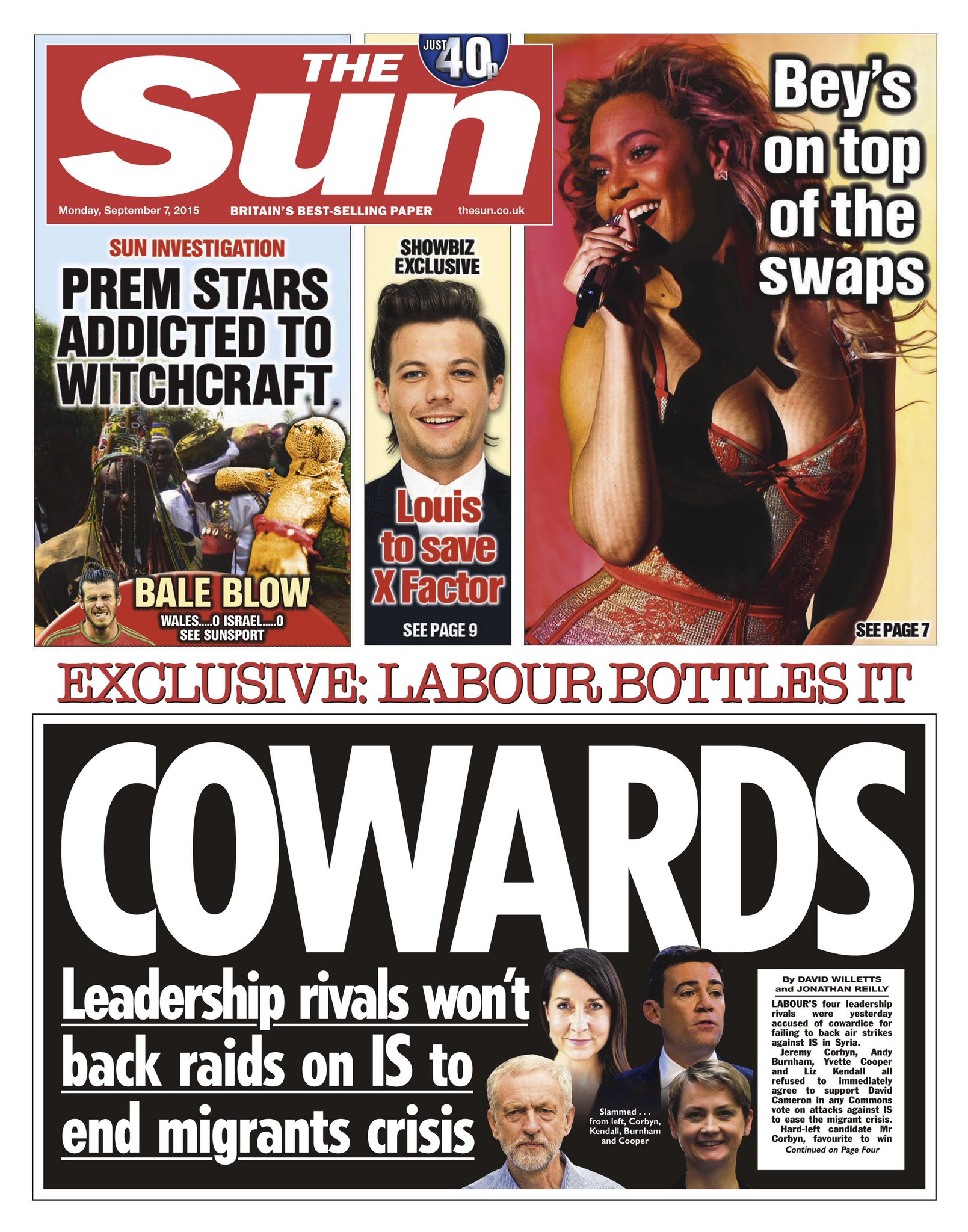 Monday's Sun Exclusive  Cowards - Leadership rivals won't back raid on IS to end migrant crisis #tomorrowspaperstoday http://t.co/cgfh6dBfId