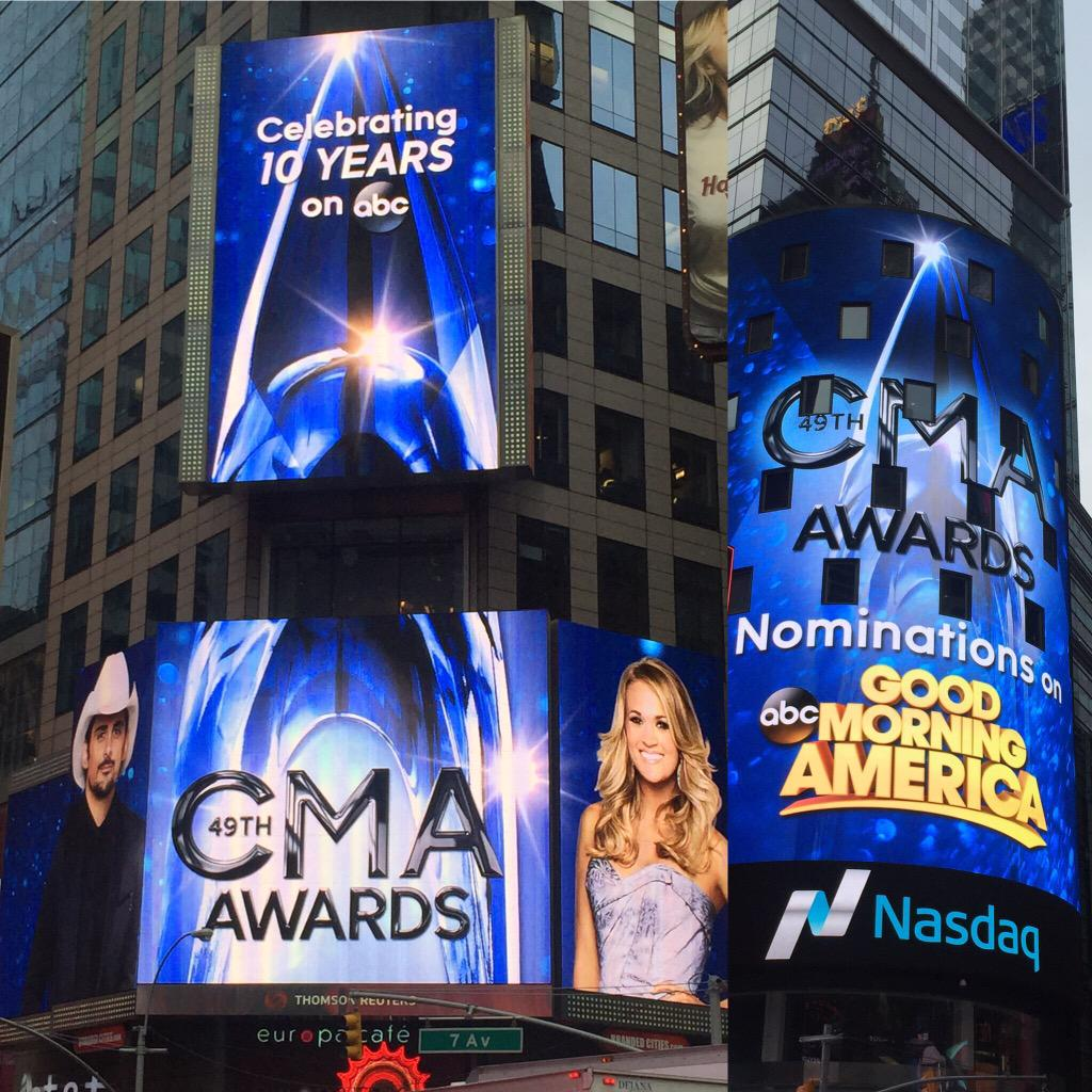 #CMAawards have taken over Times Square! Tune in to @GMA at 8:30 for the reveal with @KelseaBallerini & @IamStevenT http://t.co/FEXOIMqUrq