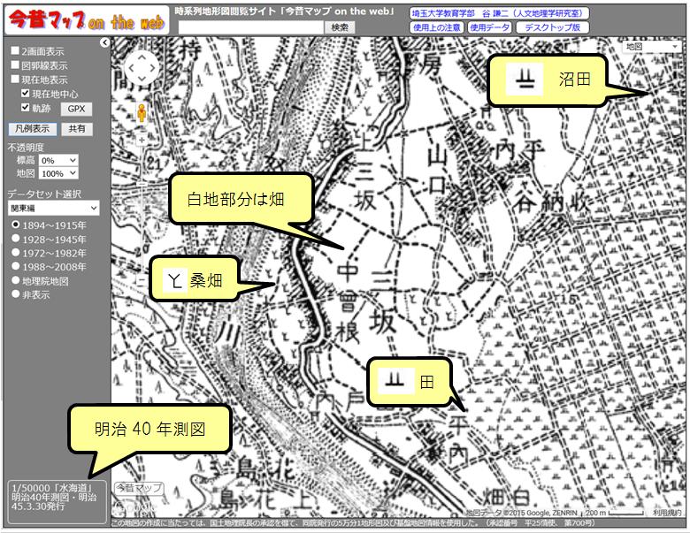 自然災害が起こると「今昔マップ」へのアクセスが増えるが、昔の地図記号を知らないと勘違いすることがあり、注意が必要。昔の水田記号は||の下に横棒があり、特に「沼田」は荒地と間違いやすい。「畑」は現在はVだが、昔は白地で記号はない。 http://t.co/SzwK6AkLwQ