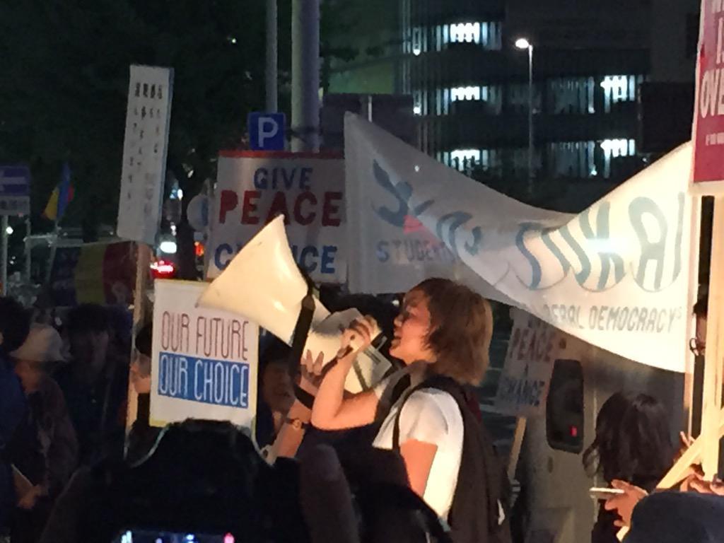 「SEALDs TOKAI 戦争法案に反対する名古屋街宣アピール」女子学生のスピーチ、そしてコール。『言うこと聞かせる番だ俺たちが』『ファシスト通すな』  #IWJ_AICHI1 http://t.co/tTA0gj5YUY