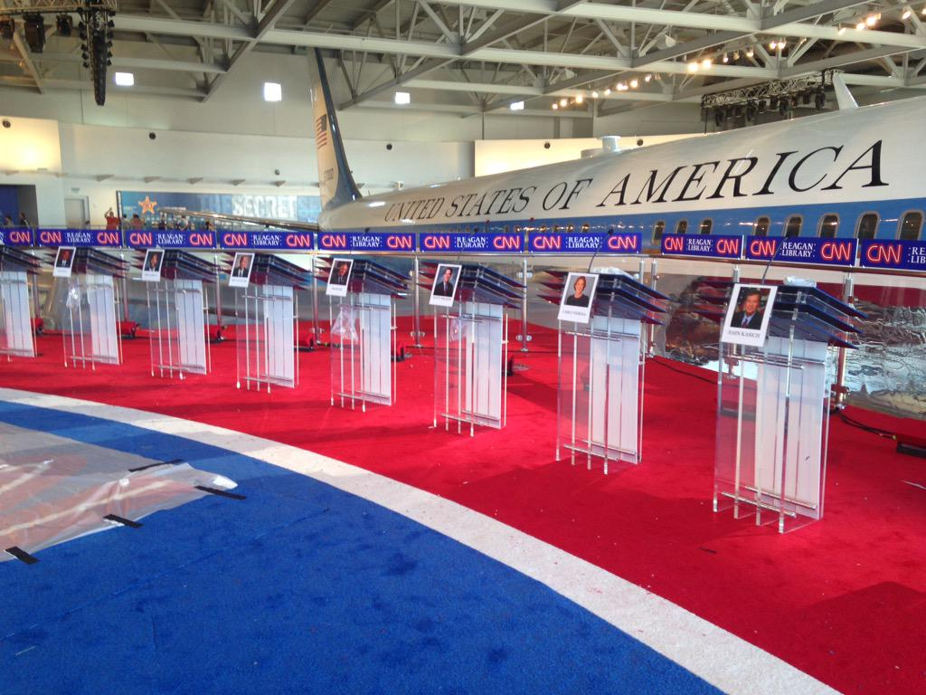 I'm going to go ahead & call this the coolest debate set ever. CNN built a stage right next to Reagan's Air Force One http://t.co/swPb7u3zoe