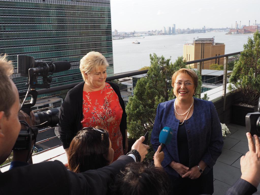 When powerful women meet. @erna_solberg of #Norway and @PrensaMichelle of #Chile with UNHQ in the background #UNGA http://t.co/TX0iLTkVqD