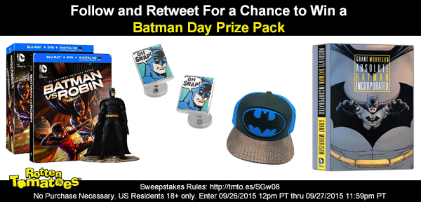 Follow & RT 4 chance 2 win a #BatmanDay Prize Pack! No Purch Req US 18+ #Sweepstakes Rules: http://t.co/wUKfEfGbdZ http://t.co/gXvMWaGSWK