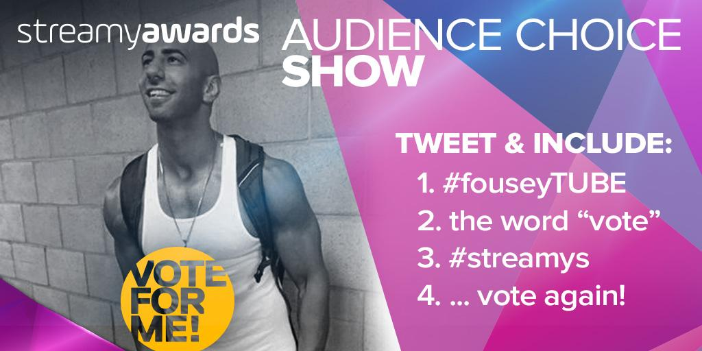 It's the LAST DAY TO VOTE for #fouseyTUBE for #streamys Show of the Year! RT to vote for @fouseyTUBE! http://t.co/q4SjpbhGlM