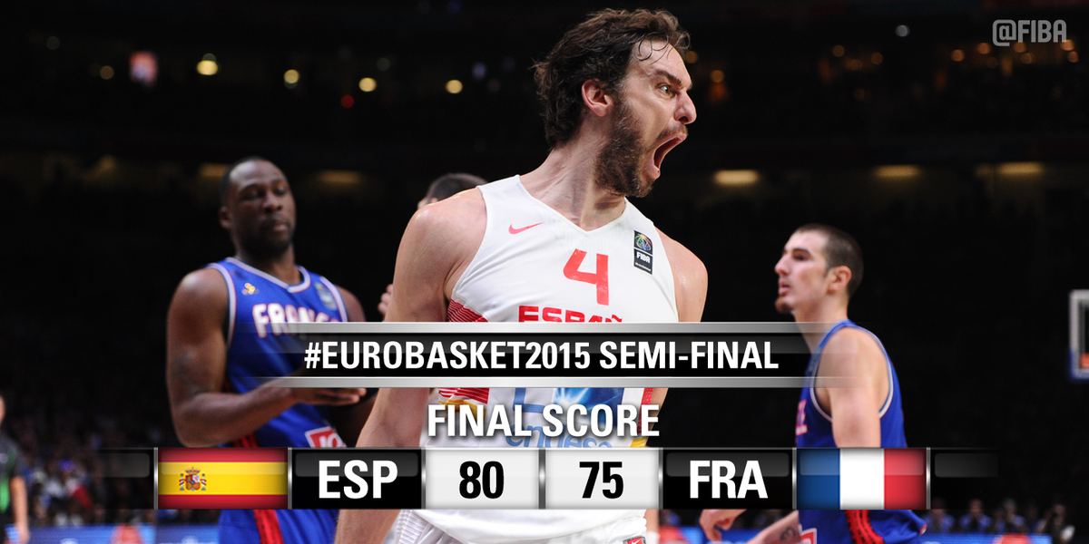 Spain go to the #EuroBasket2015 Final! @paugasol powers them with an absolute superstar 40-points performance! http://t.co/EJWLq0eWPO