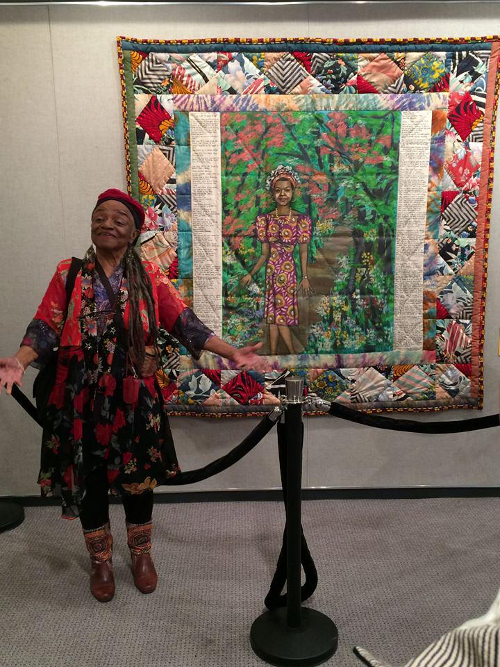 "Faith Ringgold w/ her wonderful Quilt,""Maya's Quilt of Life"" It set a record at Maya's auction selling for $461,000! http://t.co/zwv7N40D7J"