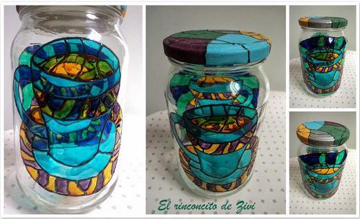 Los tarros de vidrio decorados con pintura de cristal por la bloguera Zivi