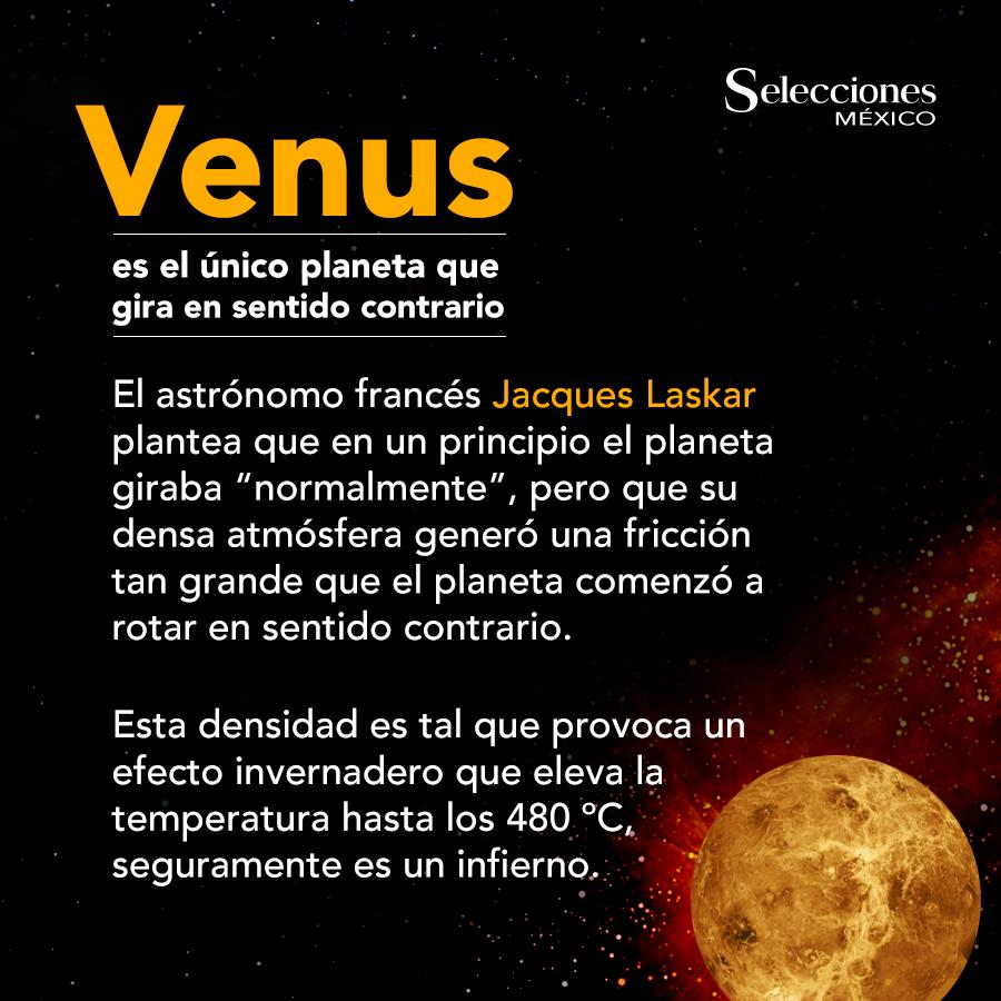 Venus es el único planeta que gira en sentido contrario # ...
