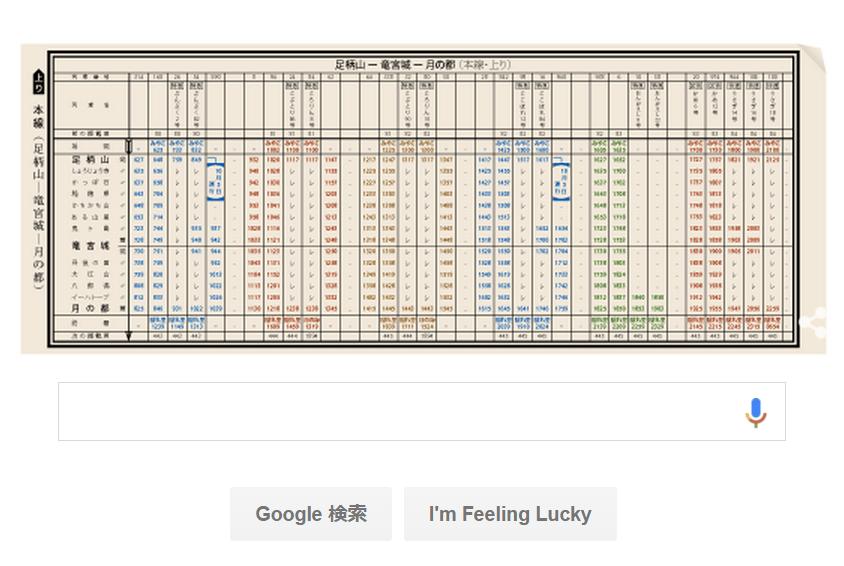 Googleのロゴが、パッと見だと意味不明w 日本初の時刻表発行121周年か。時刻表が作り込まれてる。足柄山~竜宮城~月の都とか、「ぶんぷく2号」「かめ12号」「うさぎ16号」とか http://t.co/UMuOELR8P5 http://t.co/VA0656qkRs