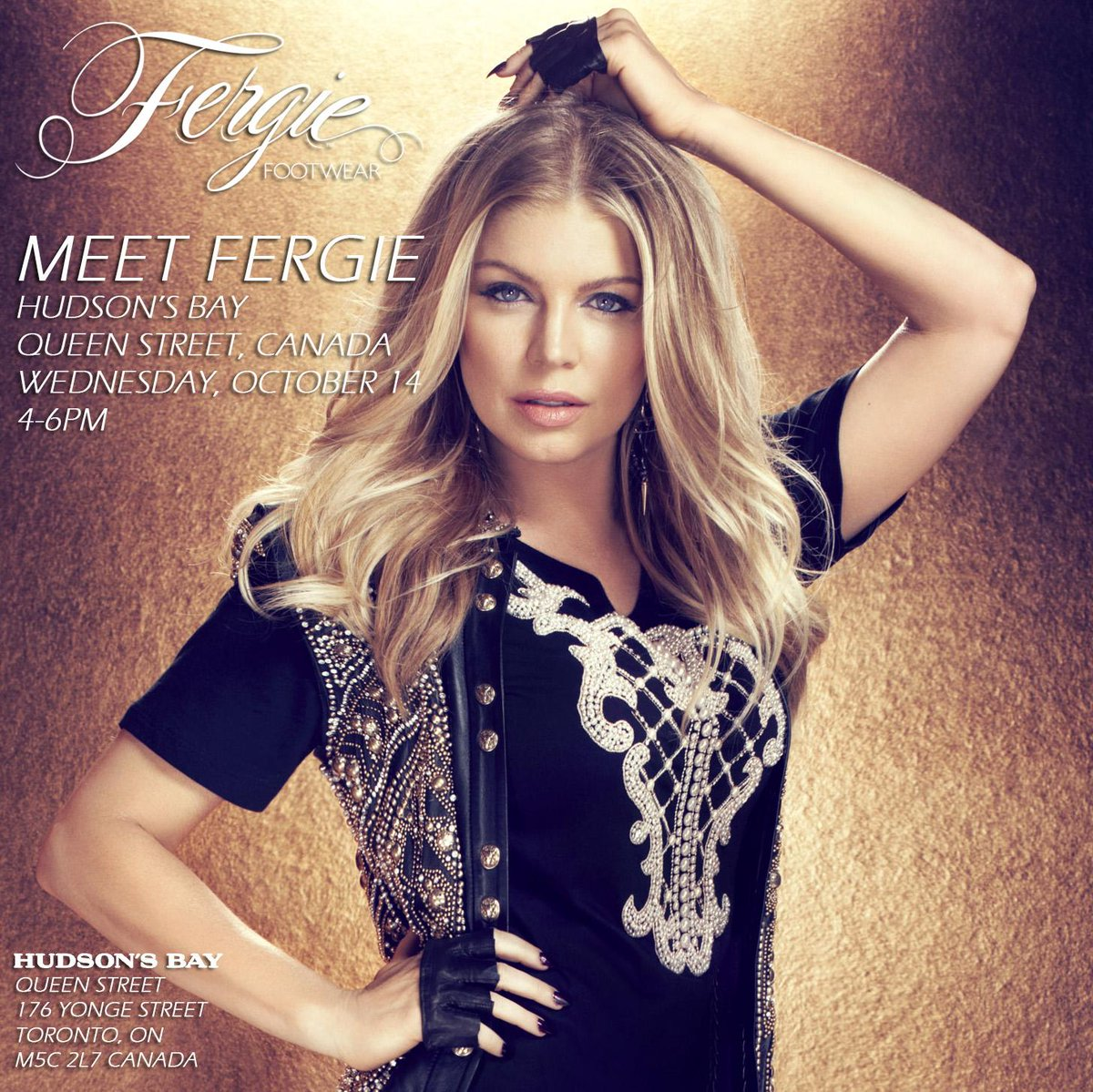RT @FergieFootwear: 10/14 Meet @Fergie 4-6pm at @HudsonsBay #QueenStreet!W/ yr purchase u'll get 2 meet #Fergie & receive a signed photo. h…